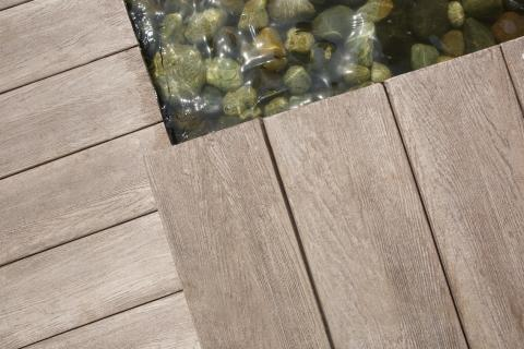 Allura decking in natural wood