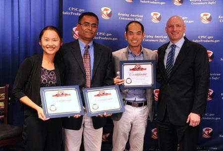Chairman Kaye presented three of the four App Challenge winners with their certificates and monetary award on October 27th, 2014.