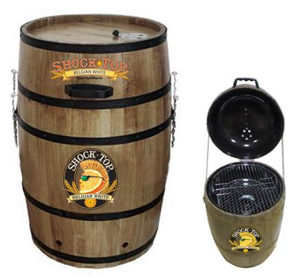 Recalled barrel-shaped charcoal grills with the Shock Top logo.