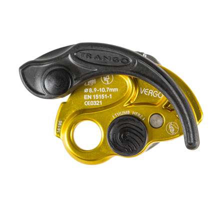 Vergo belay device with the handle over-rotated.