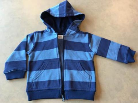 Blue striped zipper hooded sweatshirt