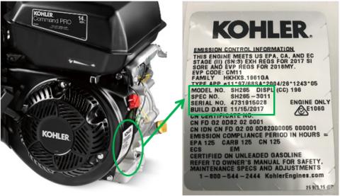 Location of label on recalled Kohler engine