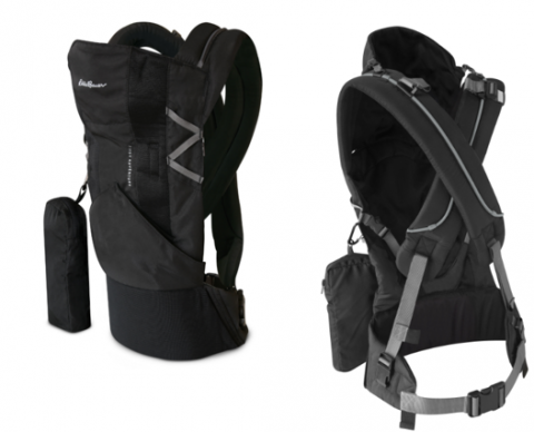 Recalled Eddie Bauer First Adventure infant carrier, front and gback views.