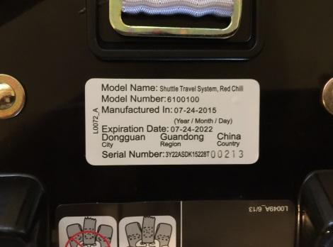 Model number under car seat