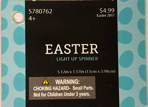Hobby Lobby Easter-themed light-up spinners with item number 9130033.