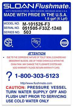 Flushmate III Label