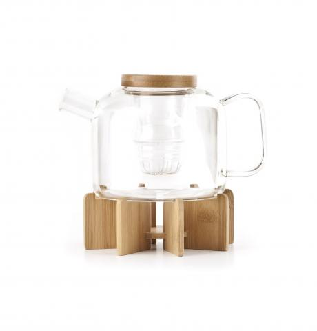 Kikkerland and Cost Plus World Market teapot with bamboo stand