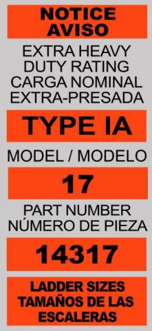 Label on recalled LT model ladders