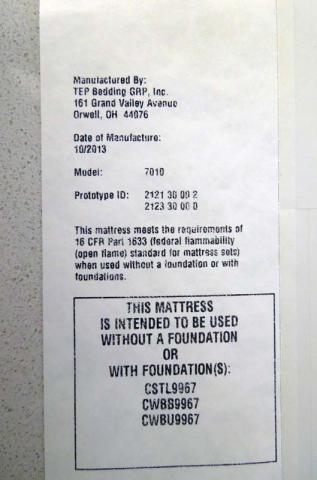Label on side of mattress