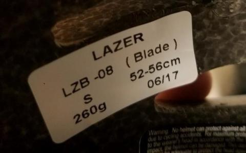 Model LZB-08 is printed on a sticker inside the helmet.