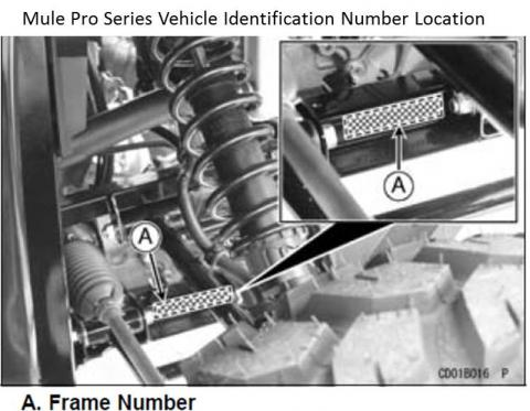 Mule Pro series vehicle identification number (VIN) location