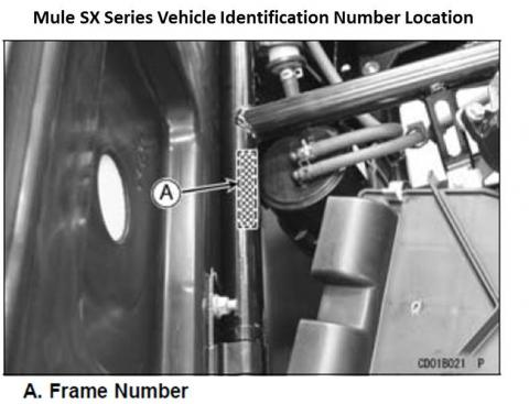 Mule SX series vehicle identification number (VIN) location