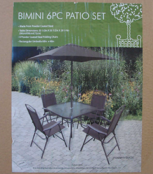 Recalled Bimini Patio Set Packaging