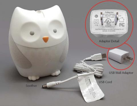 The recalled Skip Hop soothers have a USB wall power adapter and cord.