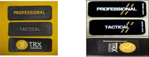 Picture of badges on recalled P1 and T1 TRX suspension trainer devices shwing either raised dots or double lines