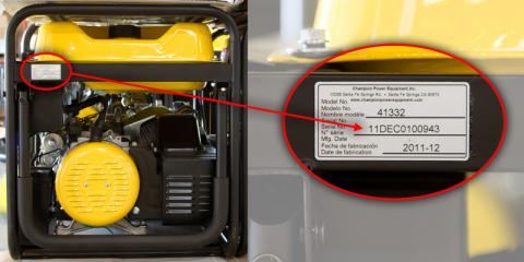 Detail of recalled generator showing location of the model number and serial number