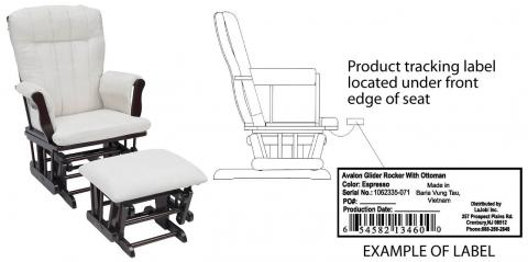 Avalon Glider Rocker with ottoman and label