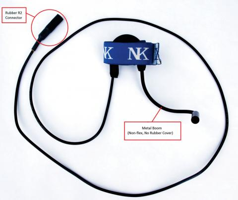 The recalled NK R2 microphone is used with an NK Cox Box 08 or an NK Cox Box Mini