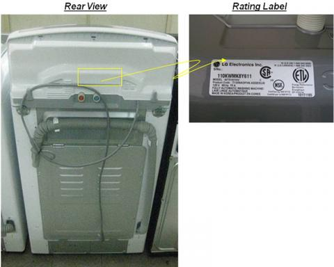 Recalled washer rear view with detail of rating label location