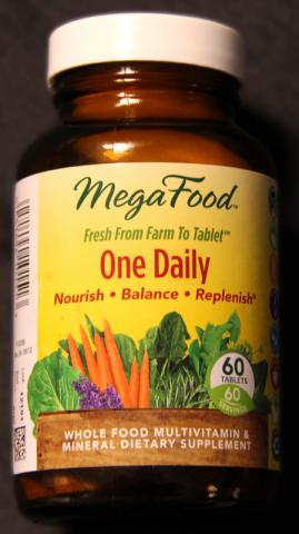 MegaFood One Daily Tablets. Bottles with 60, 90 and 180 tablets are being recalled
