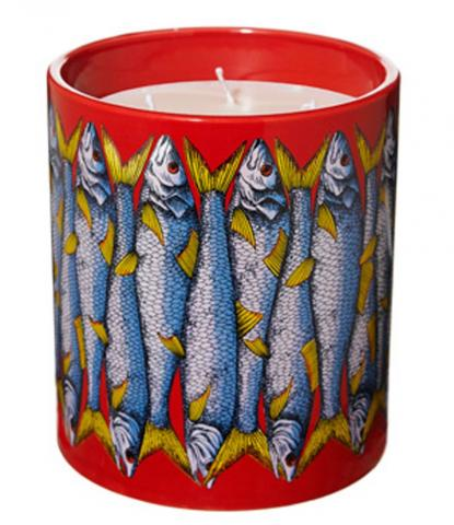 Red and blue Sardines scented candles