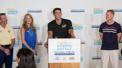 Michael Phelps announces Phelps Foundation partnership with Pool Safely