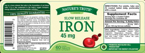 Nature's Truth Slow Release Iron 45 mg label.