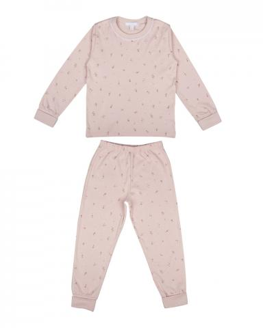 Children's two-piece pajama set in mauve flower print