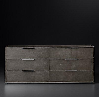 Smythson Shagreen six drawer dresser in smoke and steel