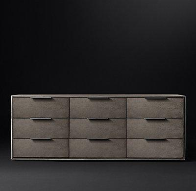 Smythson Shagreen nine drawer dresser in smoke and steel