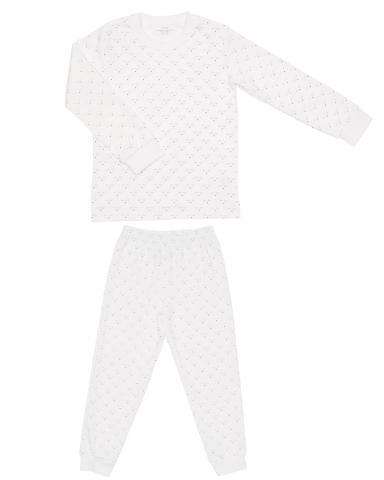 Children's two-piece pajama set in white mini sleeping cutie print