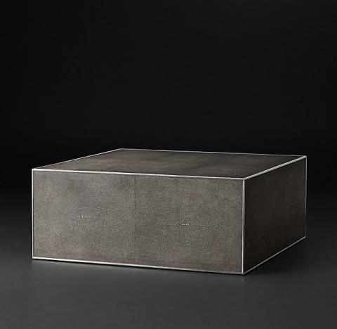 Smythson Shagreen square coffee table in smoke and steel