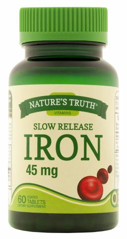 Nature's Truth Slow Release Iron 45 mg replacement bottle with child-resistant cap