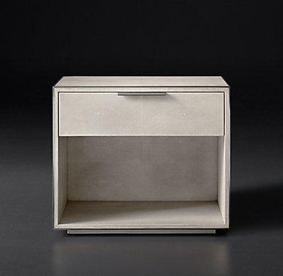 Smythson Shagreen open nightstand in dove and pewter