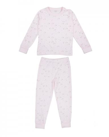 Children's two-piece pajama set in pink and grey stars print