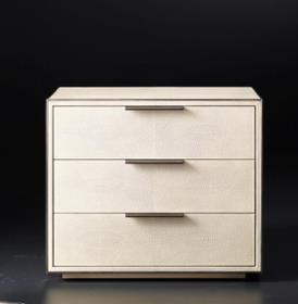 Smythson Shagreen closed nightstand in in dove and pewter