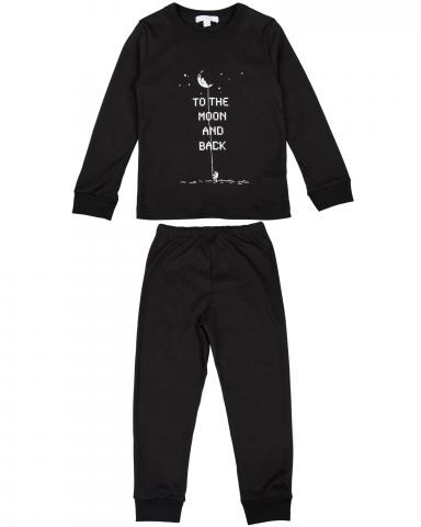 Children's two-piece pajama set in black to the moon and back print