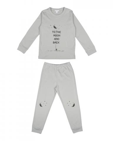 Children's two-piece pajama set in green fog print
