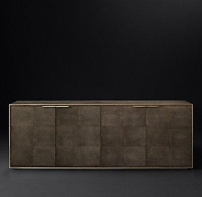 Smythson Shagreen four-door sideboard in cognac and brass