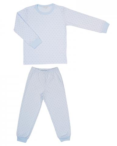 Children's two-piece pajama set in blue dots print