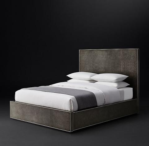 Smythson Shagreen bed without footboard in smoke and steel