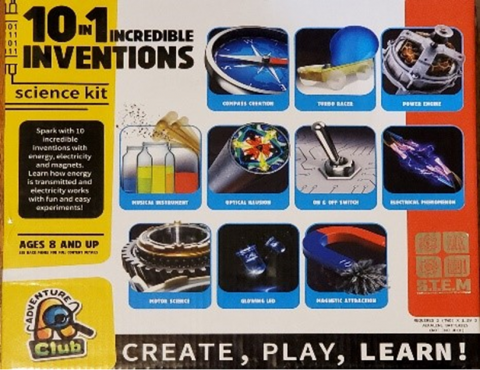 Recalled 10-in-1 Incredible Inventions Science Kit (front of box)