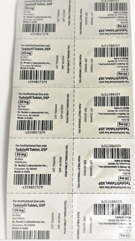 Recalled Dr. Reddy's Tadalafil Tablets 20 mg