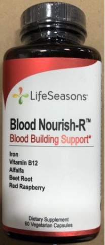 Recalled LifeSeasons Blood Nourish-R dietary supplement with iron