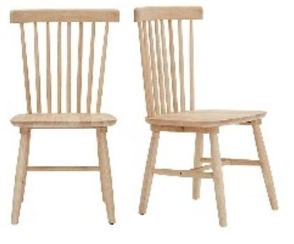 Recalled StyleWell Wood Windsor Dining Chair set – natural wood