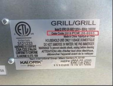 Label on the back of the recalled grills shows Date Code, PO# and Model KPRO GR 45602