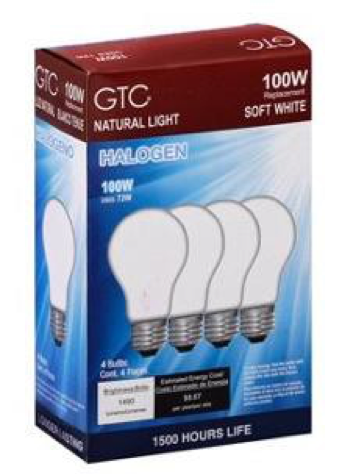 4 Pack of 100 W GTC Halogen Light Bulbs in Soft White
