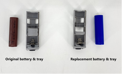 Recalled sprayer battery and tray and replacement battery and tray