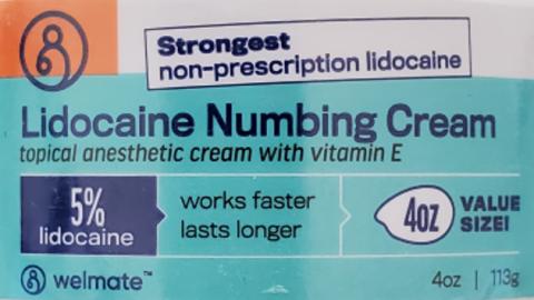 Recalled Welmate Lidocaine Numbing Cream - label