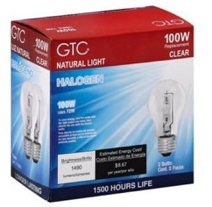 2 Pack of 100W GTC Halogen Light Bulbs in Clear
